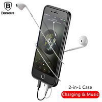 Baseus Audio Case For IPhone 8 7 Plus Earphone Adapter Splitters Aux Back Cover Case Support