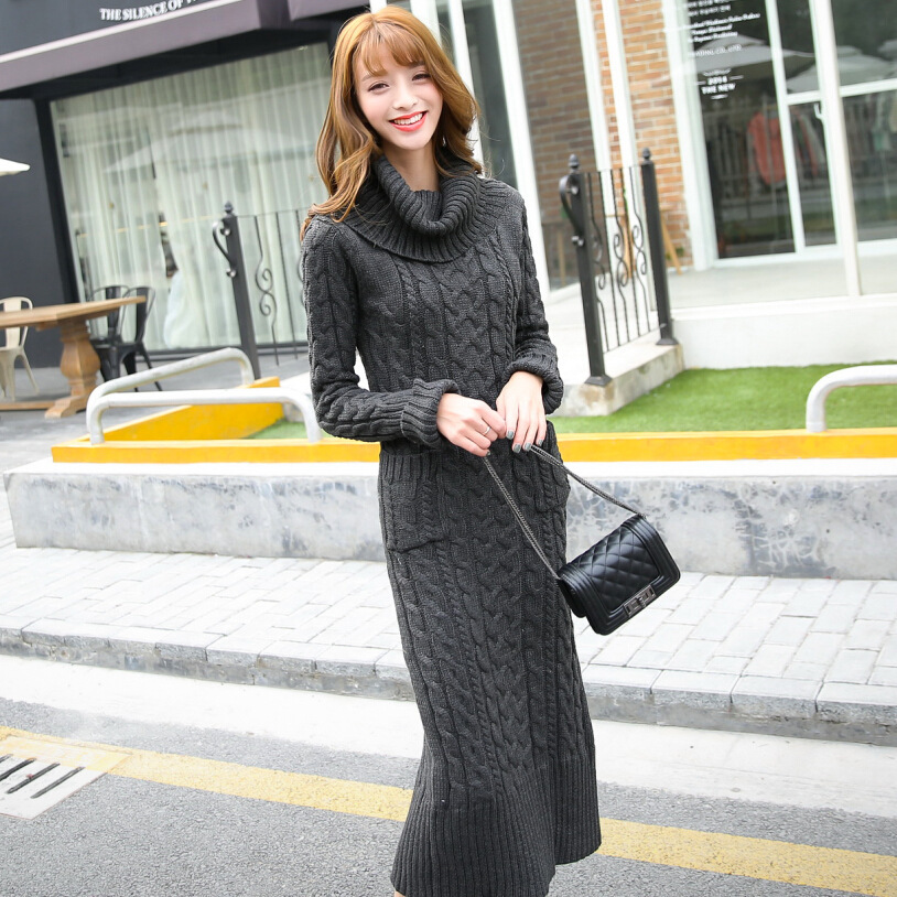 Winter Maxi Dress Women Knitted Thicken Vestidos Pockets Long Sleeve Dresses 2017 Cheap Clothes China Women womens clothing picture more detailed picture about winter maxi,Cheap Clothes For Women