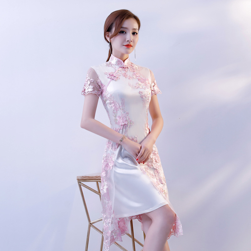 Chinese Traditional Clothing Lace Embroidery Cheongsam Dresses Short Sleeve Short Qipao Great for Wedding Prom Party Cocktail