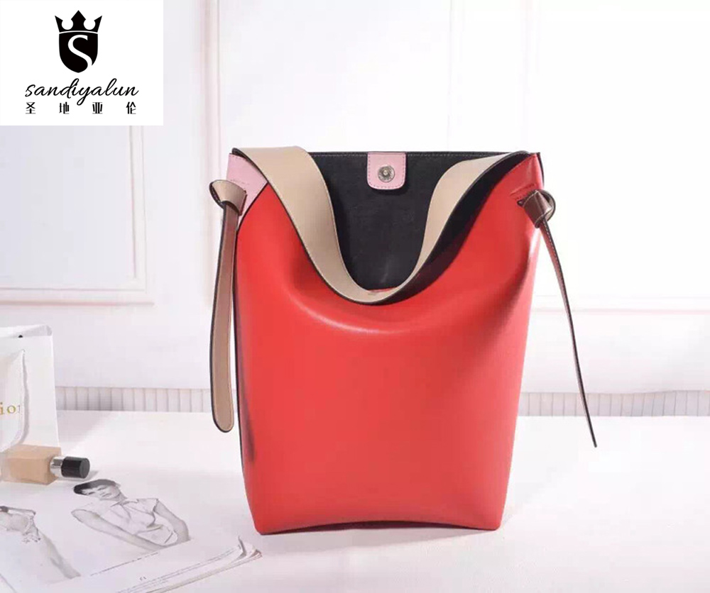 Panelled Famous Brand Genuine Leather Woman Shoulder Bags Large Capacity Handbags For Young Ladies Single Handle Bag Casual Bags