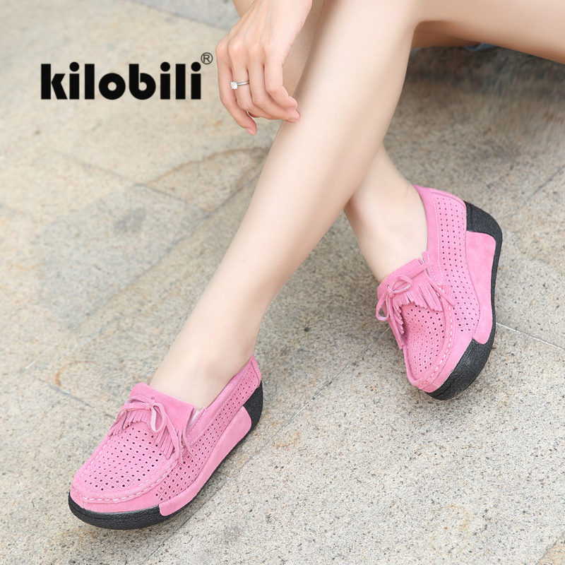 kilobili 2018 Spring women flats platform tassel   suede     leather   shoes slip on flat thick sole casual cutout creepers shoes Ladies