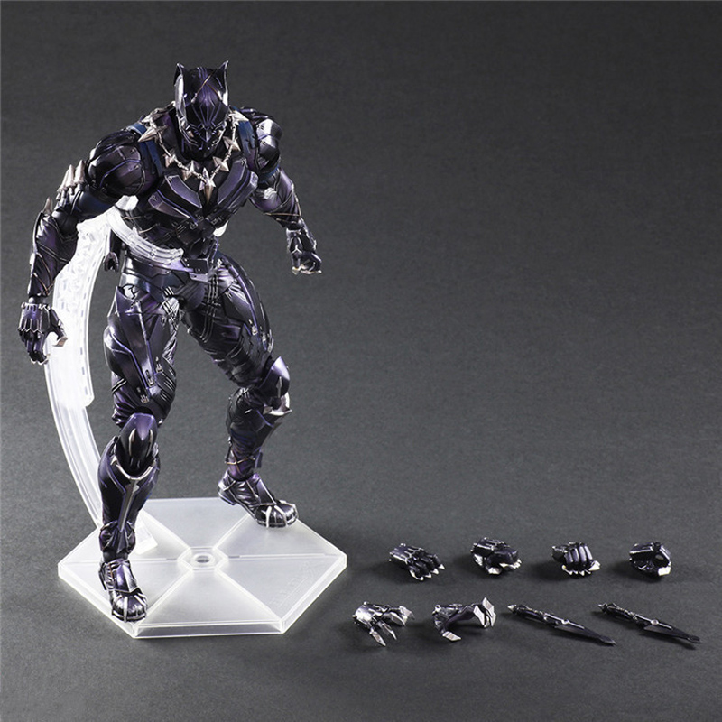 27CM Marvel Avengers Black Panther Super Hero PVC Action Figure Model Toy fire toy marvel deadpool pvc action figure collectible model toy 10 27cm mvfg363