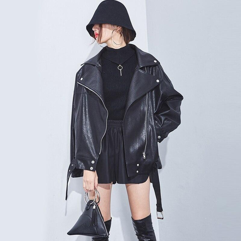 Doux Lâche Moto Pardessus En Décontracté Femelle Zipper Bomber Cuir Veste Qualité Noir Manteau Haute Femmes Faux Punk O48nRxgEFW