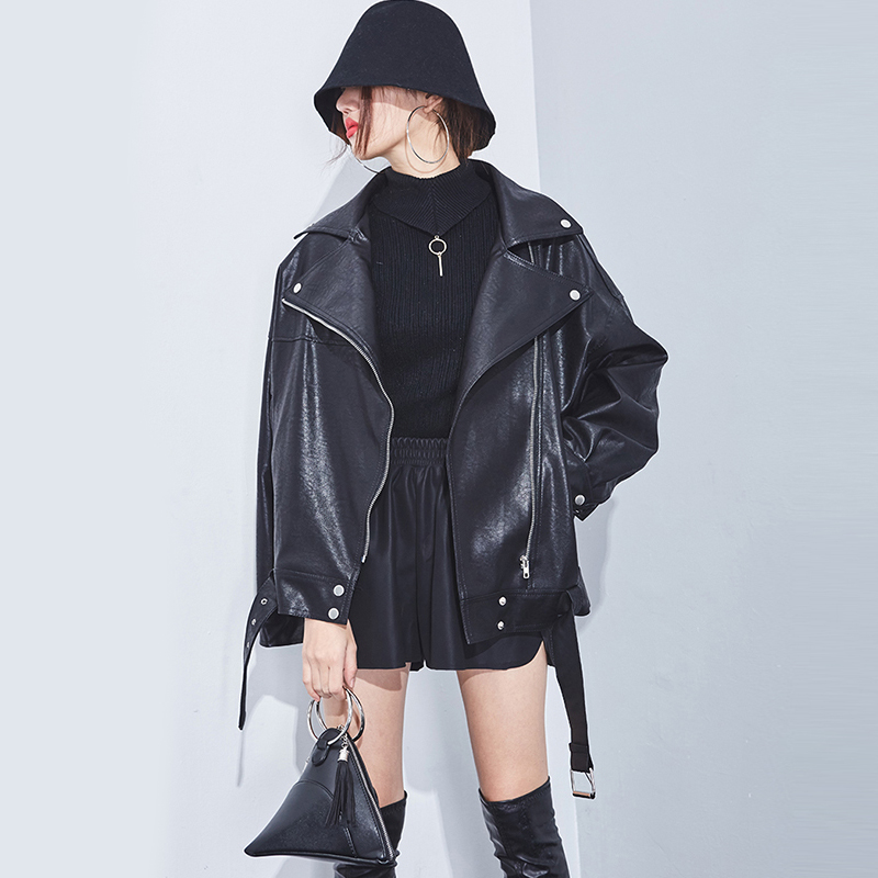 High Quality Faux Soft   Leather   Jacket Women Casual Loose black punk   leather   coat female Motorcycle Zipper Bomber overcoat womens