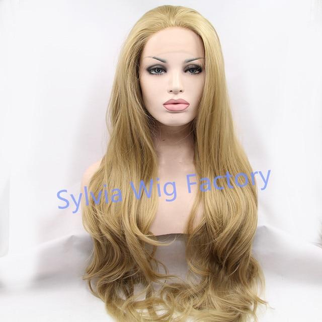 Новое Поступление естественный вид длинные объемная волна парики блондинка синтетические парик для чернокожих женщин хорошее качество кружева перед Синтетический парик волос