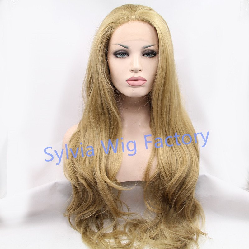 ФОТО New Arrival natural look long body wave wigs blonde synthetic wig for black women good quality lace front wig Synthetic Hair