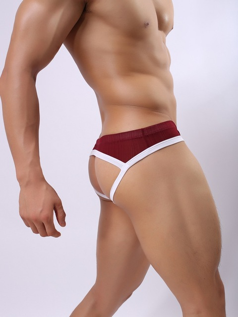 Wowhomme thong double ding pants jockstrap viscose low-waist male thong panties underwear men gay