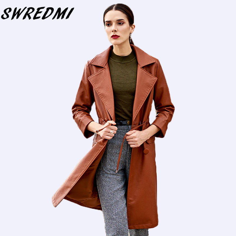 SWREDMI 2018 New Autumn And Winter Women Brown   Leather   Trench Three Quarter Sleeve Lady   Leather   Coat Female High Street   Suede