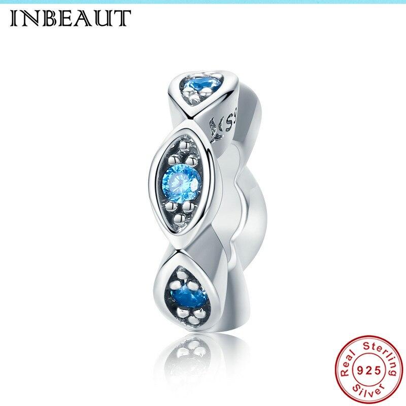 INBEAUT Women Trendy 100% Real 925 Sterling Silver Round Blue Sparkling Zircon Stones Eyes Beads fit Pandora Charm Bracelet