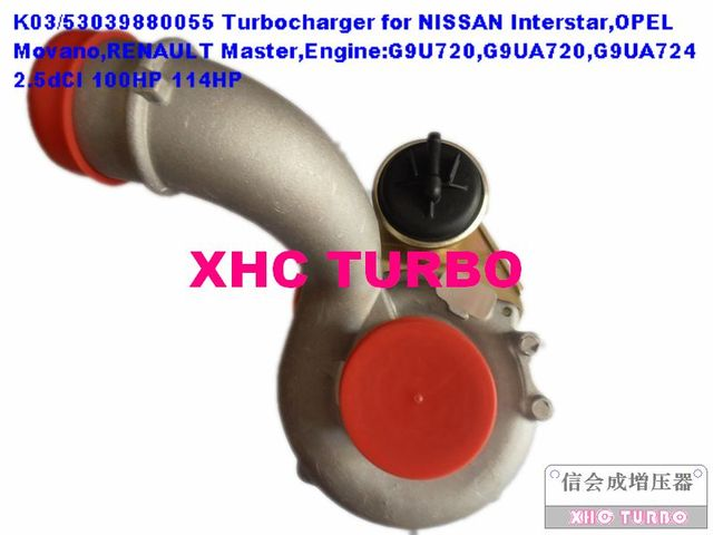 NEW K03/53039880055 Turbocharger Turbo for Nissan Interstar Renault Master Opel Movano G9U 2.5dCI 100HP 115HP