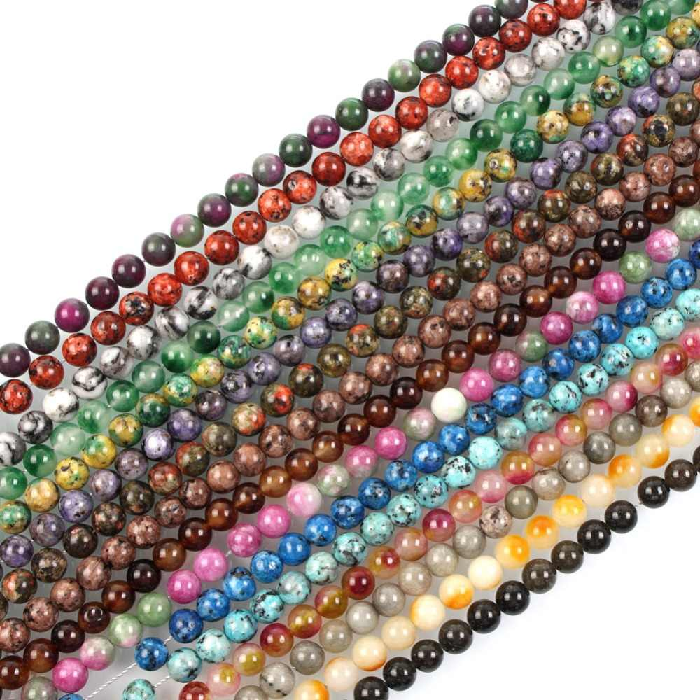 "15""Strand Natural Stone Beads Smooth Colorful Marble Stone Beads Round Loose Spacer Beads For Jewelry Making Bracelet 8mm"