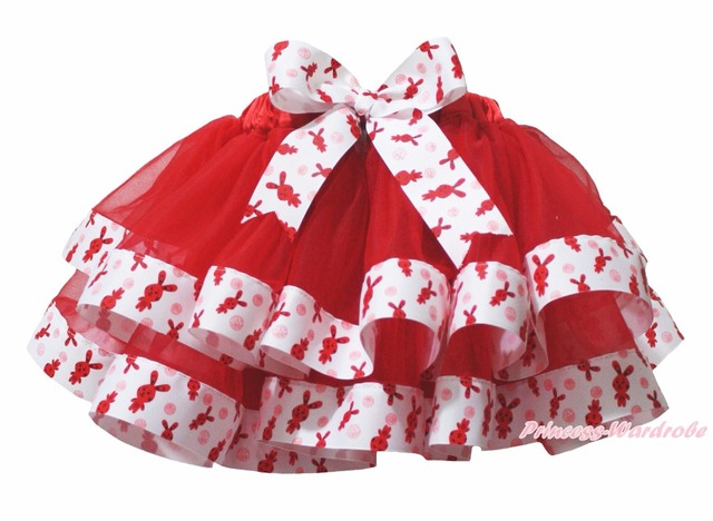 Easter Red White Rabbit Bunny Trimmed Tutu Dance Baby Girls Skirt NB-8Year