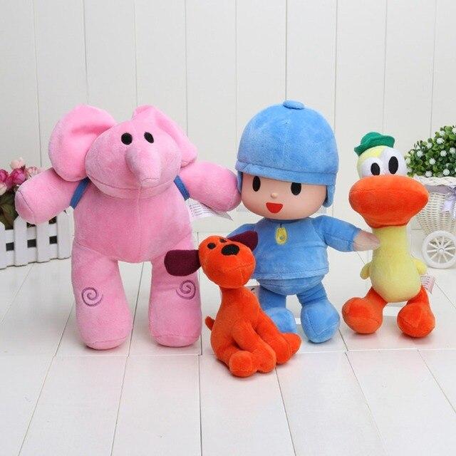 Novo 4 pçs/lote Caçoa o Presente Pocoyo Elly & Pato & POCOYO & Loula boneca de Pelúcia Brinquedos de Pelúcia Bom Presente Para crianças
