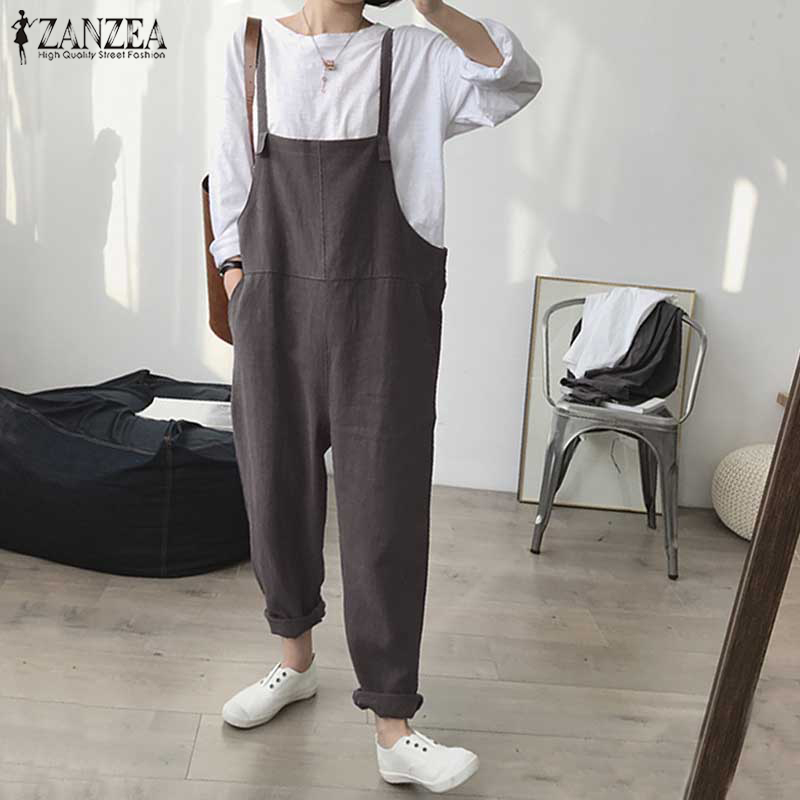 2018 ZANZEA Summer Jumpsuit Women Strappy Loose Casual Solid Bib Overalls Cotton Linen Rompers Work Party Dungarees Plus Size