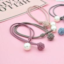 Comfortable Women Hair Accessory Ladies Elastic Rubber Bands Hairband Luxury Pearl Pendent Tie Gum Ponytail Holder Ornament
