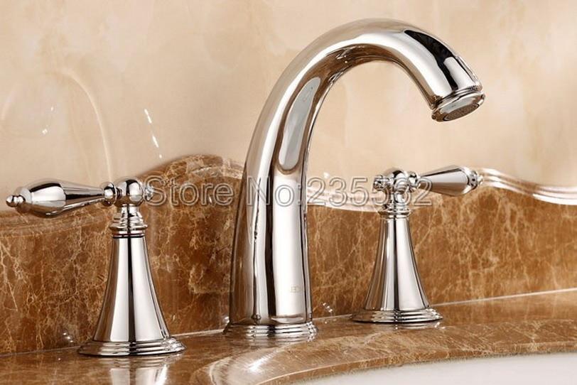 Polished Chrome 3 Hole Widespread Bathroom Basin Faucet Sink Bath Tub Faucets Dual Handle Mixer Taps lnf083