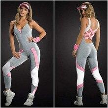 Hot Sexy filles dos nu combishort Fitness collants combinaisons Yoga Sport  costume Gym course survêtement pour les femmes une pi. 6ceca17edbd