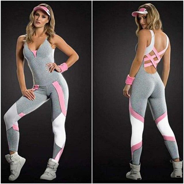 0d6d7142fc002 Sıcak Seksi Kızlar Backless Playsuit Spor Tayt Tulumlar Yoga Takım Elbise  Koşu Eşofman Kadınlar Için Tek Parça Bodysuit