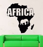 Zwierzęta kontynentu afryka mapa vinyl kalkomania ścienna mapa afryka geografii mural art naklejki ścienne sypialnia salon dekoracji wnętrz