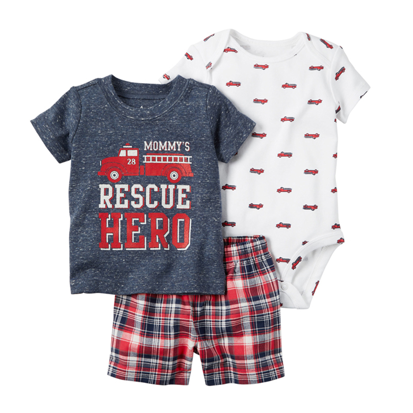 2018 New Summer bebes boys rompers suit 3pcs Baby boy Clothes set, Rescue Hero Short sleeve and shorts cotton kid clothing set new fashion baby boys clothing set cotton short sleeve shorts plaid kids clothes summer baby boy set gentleman suit