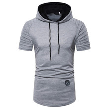 MarKyi Hooded T Shirt Men 2019 Brand Summer Short Sleeve Tee Homme Casual Slim Fit Hoody Mens T-shirt Solid Top Tees