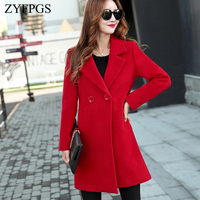 ZYFPGS 2018 Winter Top Coat Women Two Buckles Slim Fit Warm Cashmere High Quality Fabric Coat Beauty Individuality Autumn Z1006