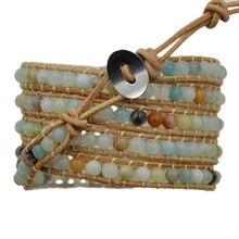 3 stks/partij 5 Wraps Natuurlijke Multicolor Amazoniet Mens vrouwen Gem stone Wrap Lederen Armband Armband Kralen Mode