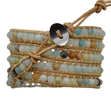 3pcs/Lot 5 Wraps Natural Multicolor Amazonite Mens Womens Gem stone Wrap Genuine Leather Bangle Bracelet Beads Fashion