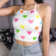 2019 Women's Sexy Crop Top Lace Up Colorful Heart Print Halter Neck Bandage Knitted Tank Top pineapple print crop halter top