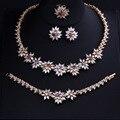 Luxo Banhado A Ouro Forma de Flor CZ Nupcial Brincos Colar de Diamantes Completo Define Grandes Conjuntos de Jóias de Casamento Para Noivas