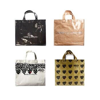 Vintage CDG Kraft Paper Shopping Bag PVC Clear Double Transparent Bag Waterproof Causal Tote Shoulder Bag Messenger handbag Сумка
