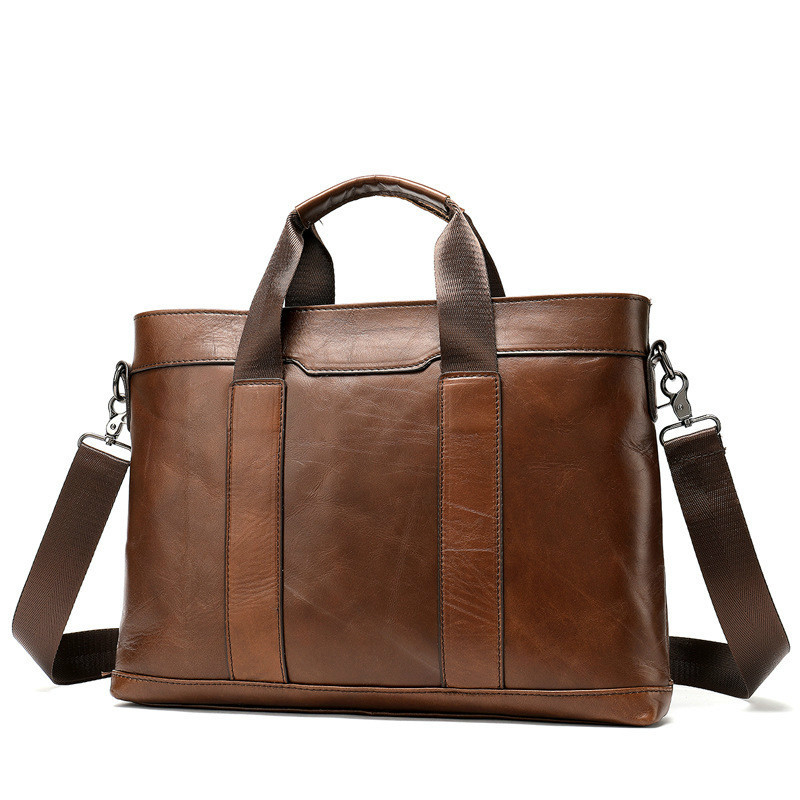 Sac en cuir véritable pour hommes marron/noir porte-documents sac pour homme ordinateur/document/ordinateur portable sac à bandoulière unique sacs d'affaires