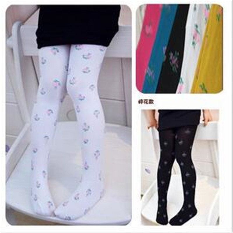 1pair Random Baby Girl Flower Velvet Legging Kids Candy Color Leggings Girl