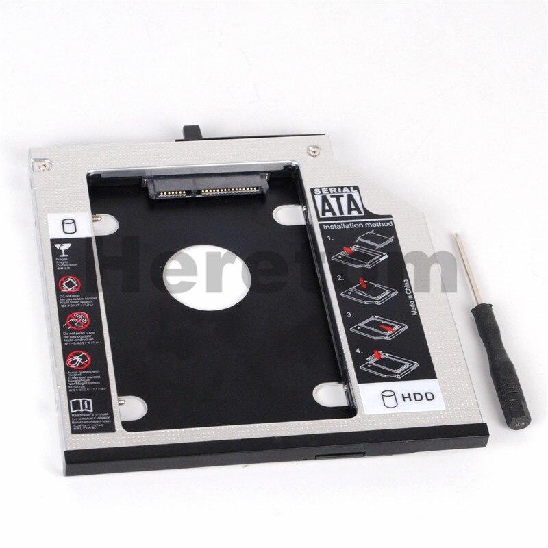 Heretom Aluminum SATA To SATA 9.5mm 2nd HDD Hard Drive Caddy For ThinkPad T400 T500 Laptop DVD CD-ROM Optibay