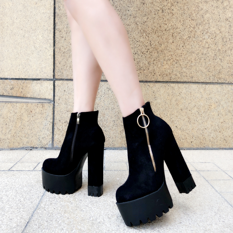 Sexy womens ankle boots 14CM super high heel suede short boots side zipper Martin boots high quality night club high heels