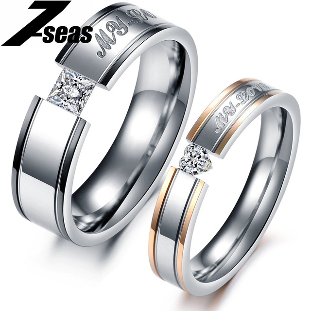 1 Piece Price Fashion Heart Aaa Cubic Zirconia Rhinestone Steel Rings Set Women And