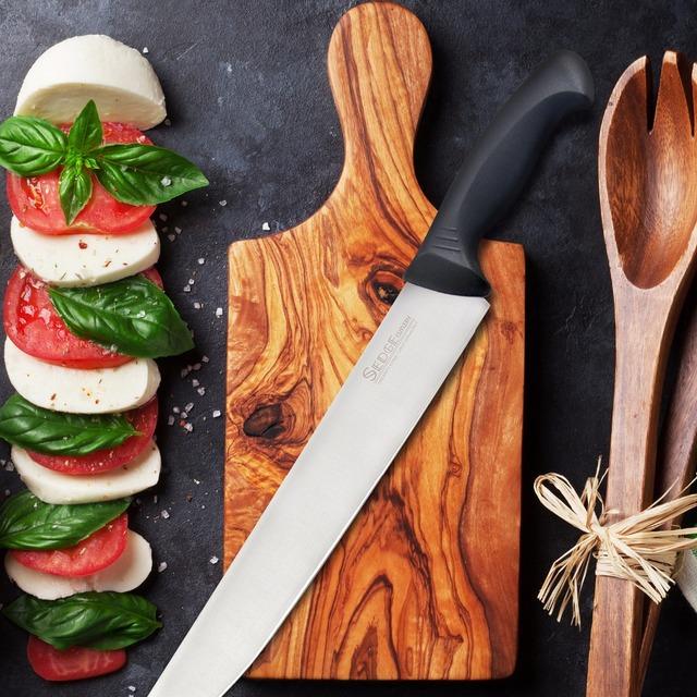 "Sedge Carving Slicing Knife – SP Series – German High Carbon stainless steel Kitchen Knife – Ergonomic Black Handle – 12"""