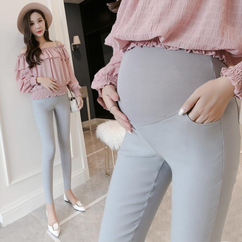 diseño atemporal ba35f e5930 € 8.46 8% de DESCUENTO 1662 # Strech algodón Skinny maternidad Legging 2019  otoño moda Pantalones delgados ropa para mujeres embarazadas vientre ropa  ...