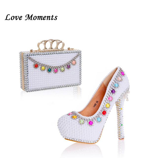 Love Moments Women white pearl wedding shoes with matching bags Bride  fashion shoe and bag set 325c96c37922