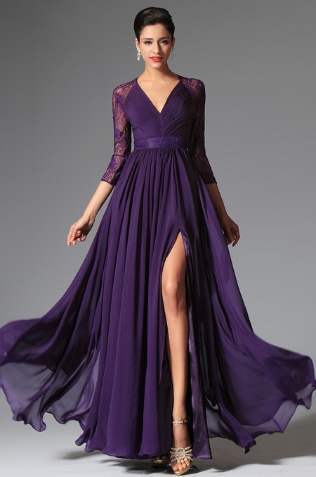 Floor Length Purple Dresses with Sleeves