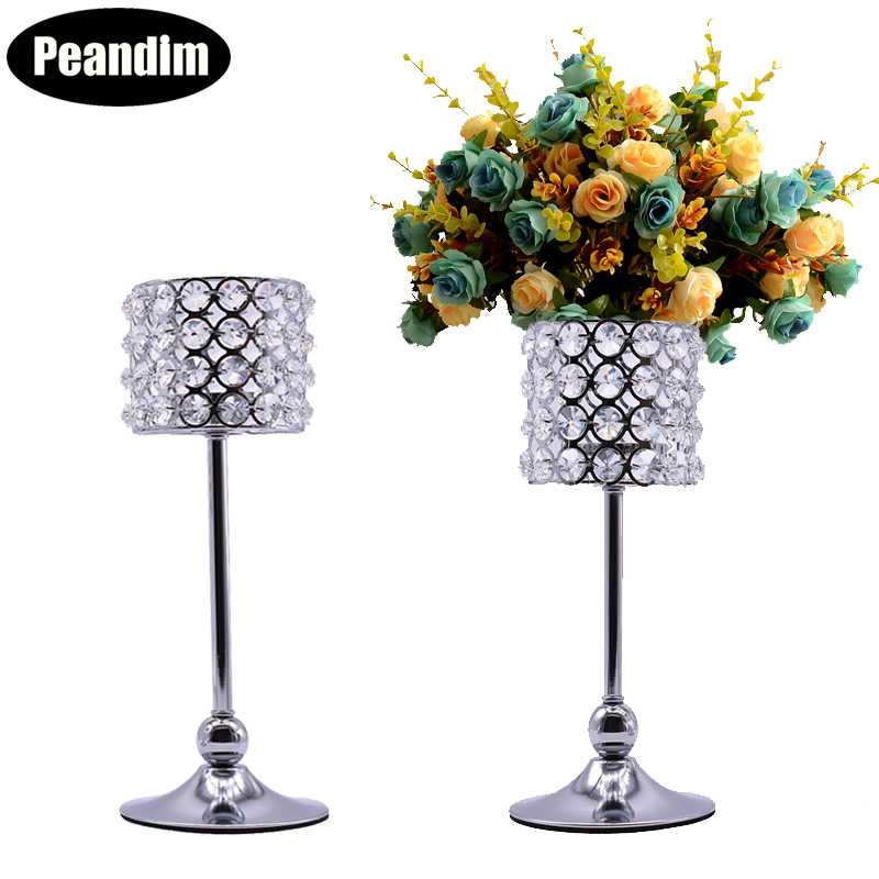 PEANDIM K9 Crystal Candle Holders Set Wedding Table Centerpieces Gold Candle Lantern Candlestick Home Flower Holder Decor