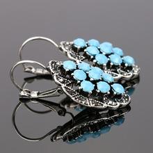 AINAMEISI, высокое качество, цинковый сплав, голубой камень, турецкие ювелирные изделия, висячие серьги для женщин, винтажные геометрические серьги принцессы с крючками