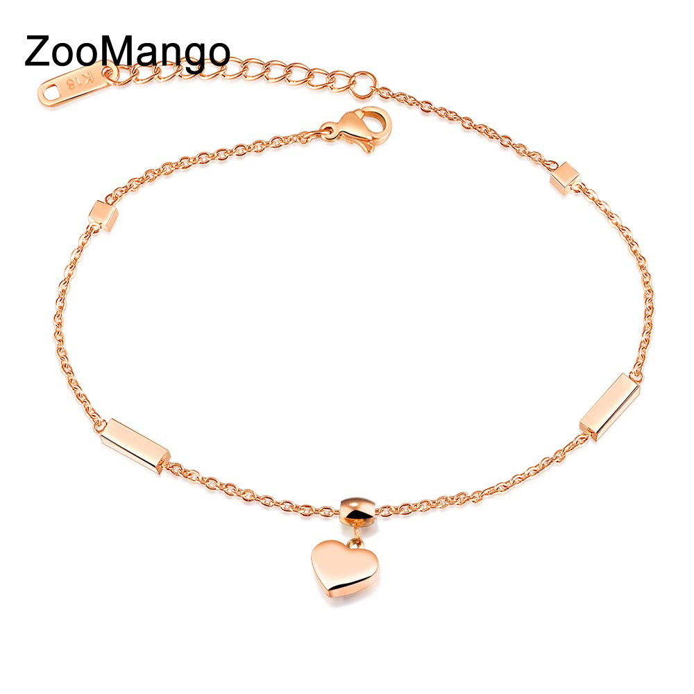Jewelry & Accessories Purposeful Zoomango New Heart & Cube Charm Anklets For Women Rose Gold Color Stainless Steel Female Foot Bracelet Friendship Jewelry Ogz028 Price Remains Stable