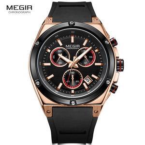 Image 2 - Megir Sports Silicone Chronograph Quartz Watches Army Casual Waterproof 24 hour Analogue Wristwatch for Man Black Rose 2073 1N0