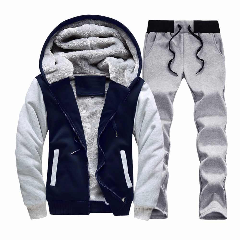 Conjunto de chándal para hombre 2019 ropa de marca sudaderas con capucha ropa deportiva sudadera invierno cálido Fitness chándal Casual chándales conjuntos para hombre