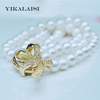 YIKALAISI 2017 New Three Strand Pearl Bracelet 100% Natural Pearl jewelry 7-8 mm Perfect Circle Pearl Bracelet For Women