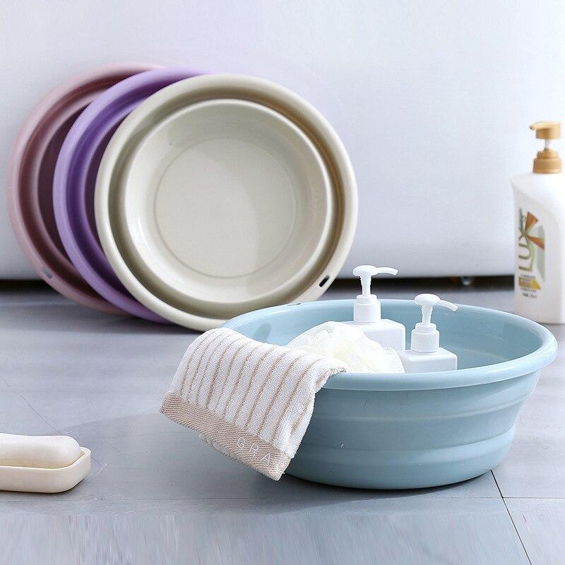 Plastic Folding Washbasin Foldable Bucket Kitchen Organizer Travel Washbasin Folding Basin Home Washtub Water Bowl Fruit Tray|Plastic & Portable Basins| |  - title=