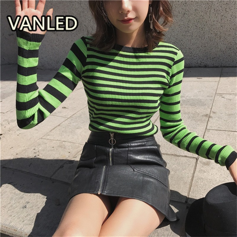 Women's Brief Stripe Pullover Knitting Sweater Casual Slim O-neck Female Sweaters