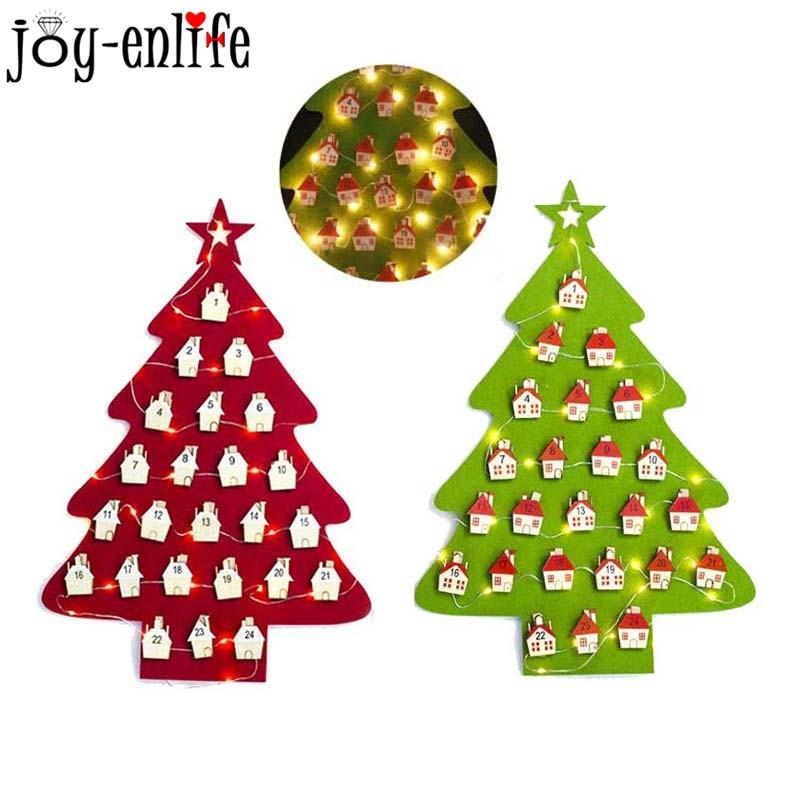 Felt Christmas Tree LED Lights Advent Calendar 2019 DIY Wall Calendar Christmas Decorations for ...