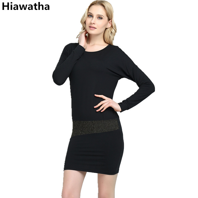 Buy Cheap Hiawatha Women Long Sleeve Dress Fashion Slim Sequined Patchwork Dresses 2017 Spring O-Neck Vestidos Mujer L8035